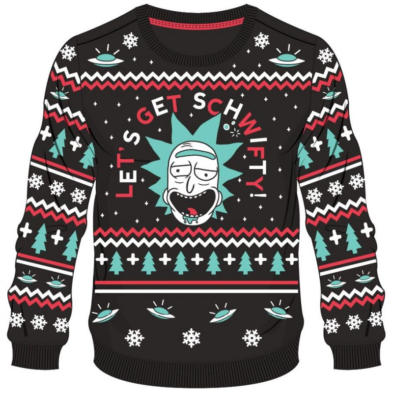 Rick And Morty Christmas Sweater.Rick Morty Christmas Pullover Get Schwifty