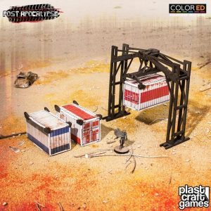 Post Apocalypse ColorED Tabletop-Bausatz 28 mm Crane & Containers