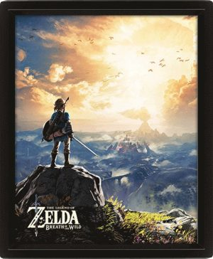 Legend of Zelda Breath of the Wild 3D-Effekt Poster Set im Rahmen Sunset 26 x 20 cm (3)