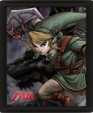 Legend of Zelda Twilight Princess 3D-Effekt Poster Set im Rahmen 26 x 20 cm (3)
