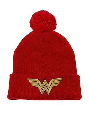 Wonder Woman Pom Pom Beanie 3D Gold Logo