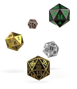 Oakie Doakie Dice W20 Spindown-Würfel Set Metal (5)