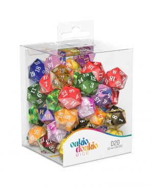 Oakie Doakie Dice W20 Spindown-Würfel Retail Pack 22 mm Mixed (50)